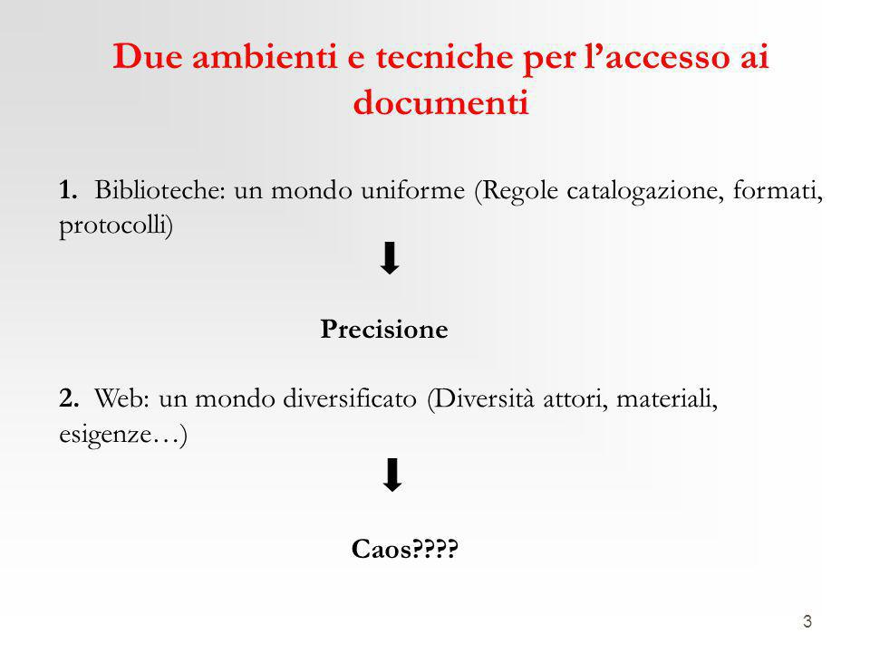 3 Due ambienti e tecniche per l'accesso ai documenti 1. Biblioteche: un mondo uniforme (Regole catalogazione, formati, protocolli) Precisione 2. Web:
