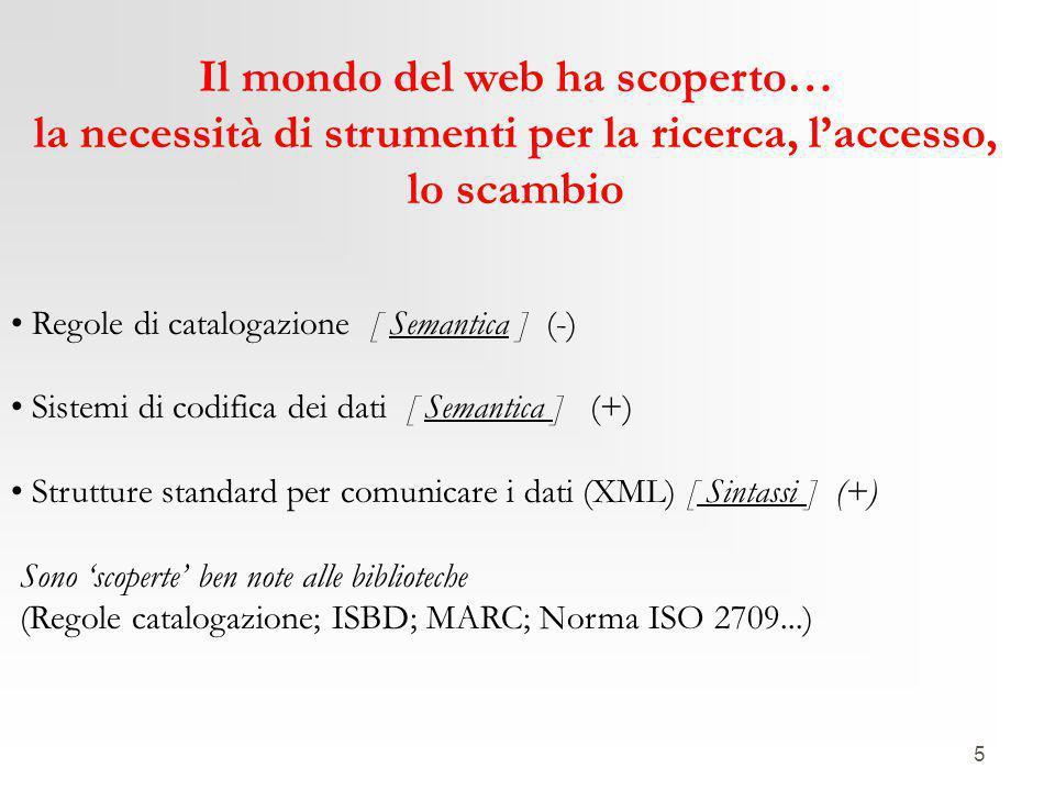 5 Il mondo del web ha scoperto… la necessità di strumenti per la ricerca, l'accesso, lo scambio Regole di catalogazione [ Semantica ] (-) Sistemi di codifica dei dati [ Semantica ] (+) Strutture standard per comunicare i dati (XML) [ Sintassi ] (+) Sono 'scoperte' ben note alle biblioteche (Regole catalogazione; ISBD; MARC; Norma ISO 2709...)