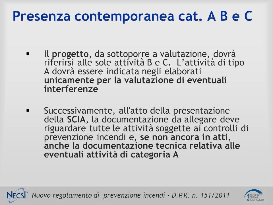 Nuovo regolamento di prevenzione incendi - D.P.R. n. 151/2011 Presenza contemporanea cat. A B e C  Il progetto, da sottoporre a valutazione, dovrà ri