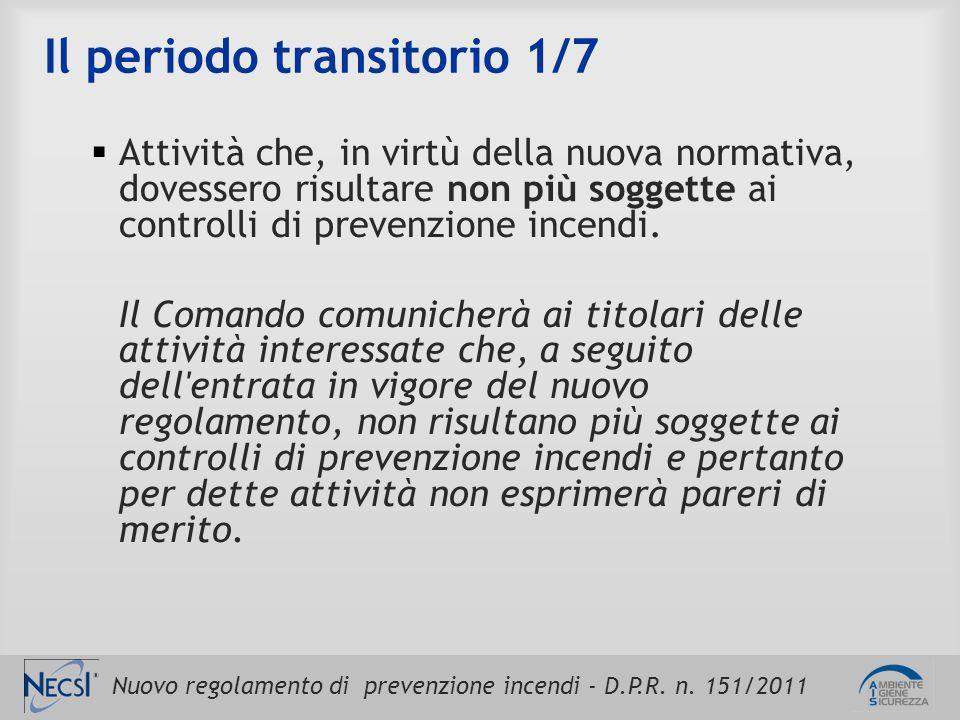 Nuovo regolamento di prevenzione incendi - D.P.R. n. 151/2011 Il periodo transitorio 1/7  Attività che, in virtù della nuova normativa, dovessero ris