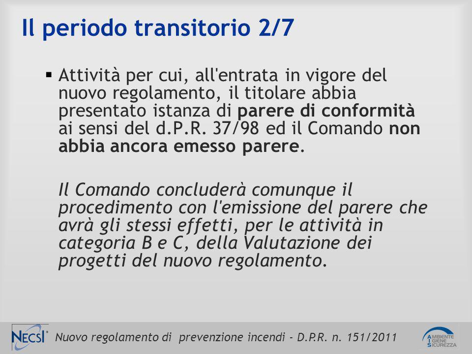 Nuovo regolamento di prevenzione incendi - D.P.R. n. 151/2011 Il periodo transitorio 2/7  Attività per cui, all'entrata in vigore del nuovo regolamen