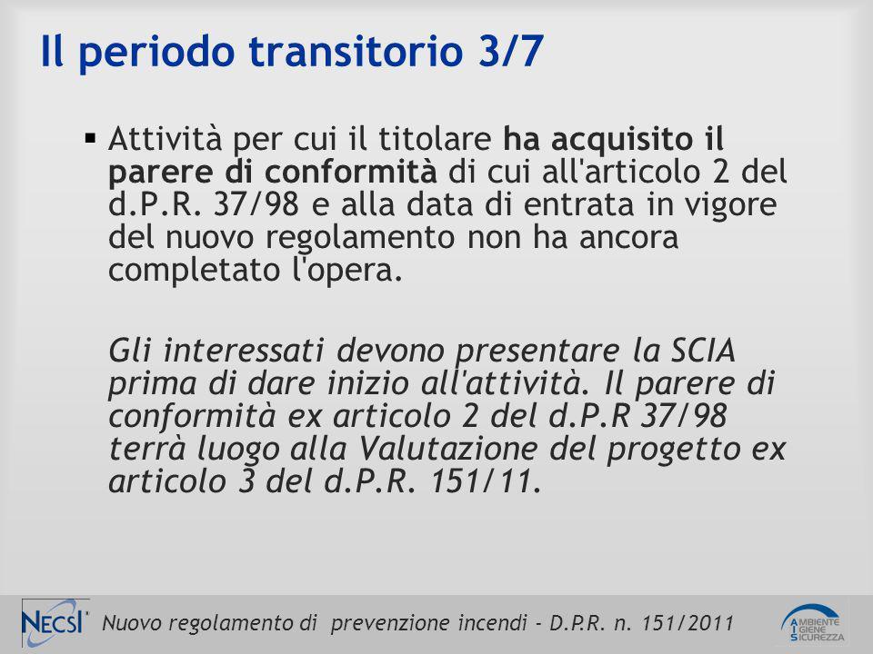 Nuovo regolamento di prevenzione incendi - D.P.R. n. 151/2011 Il periodo transitorio 3/7  Attività per cui il titolare ha acquisito il parere di conf