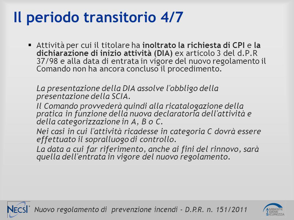 Nuovo regolamento di prevenzione incendi - D.P.R. n. 151/2011 Il periodo transitorio 4/7  Attività per cui il titolare ha inoltrato la richiesta di C