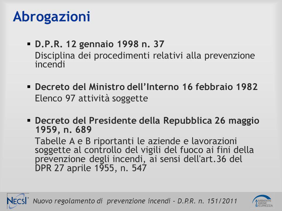 Nuovo regolamento di prevenzione incendi - D.P.R. n. 151/2011 Abrogazioni  D.P.R. 12 gennaio 1998 n. 37 Disciplina dei procedimenti relativi alla pre
