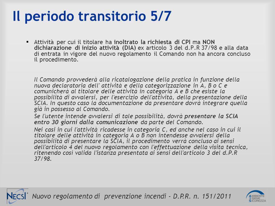 Nuovo regolamento di prevenzione incendi - D.P.R. n. 151/2011 Il periodo transitorio 5/7  Attività per cui il titolare ha inoltrato la richiesta di C