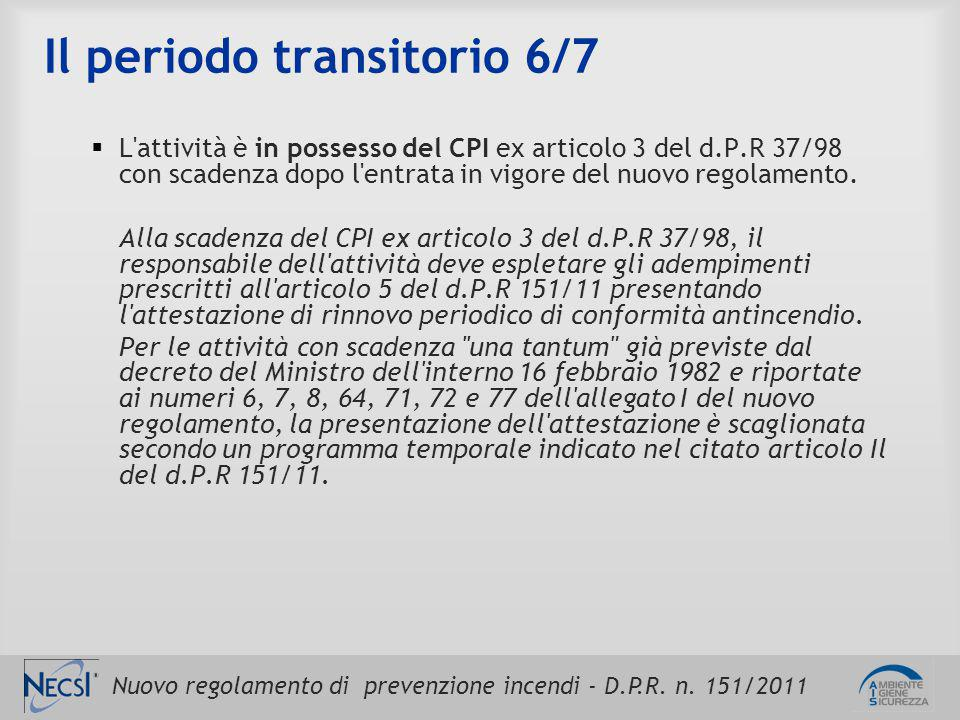 Nuovo regolamento di prevenzione incendi - D.P.R. n. 151/2011 Il periodo transitorio 6/7  L'attività è in possesso del CPI ex articolo 3 del d.P.R 37