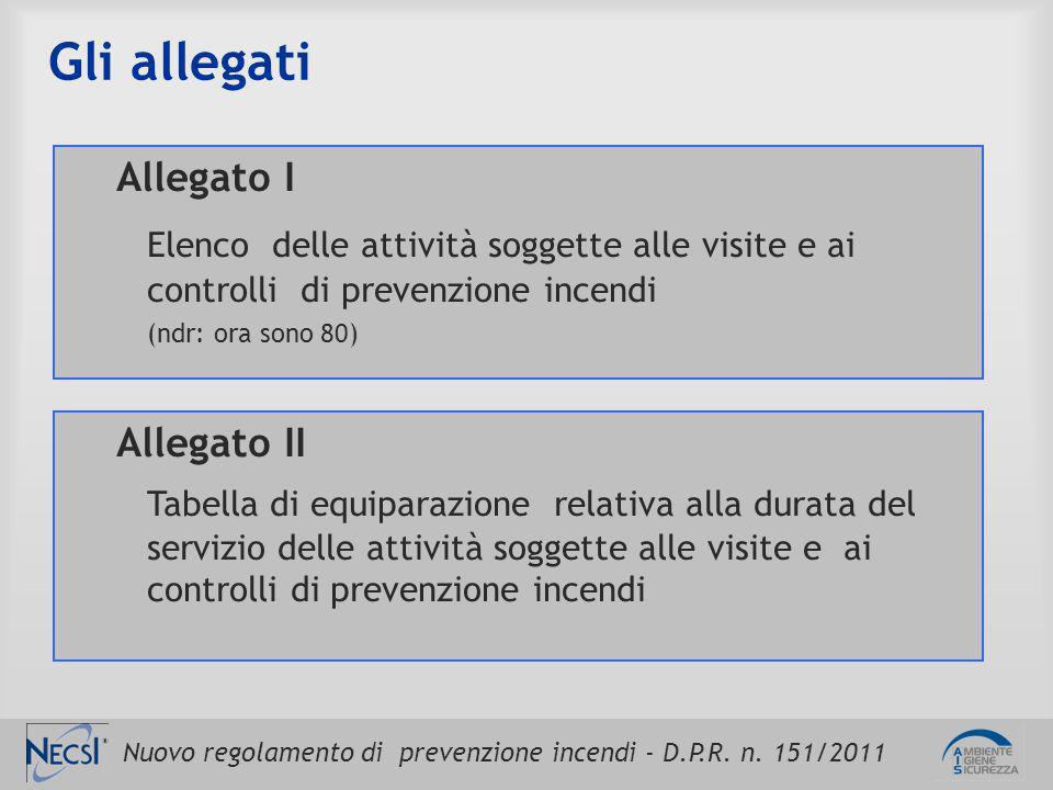 Nuovo regolamento di prevenzione incendi - D.P.R. n. 151/2011 Gli allegati Allegato I Elenco delle attività soggette alle visite e ai controlli di pre