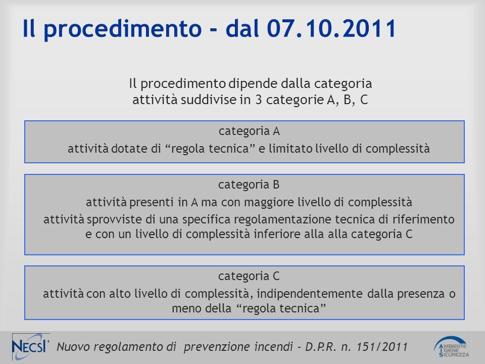 Nuovo regolamento di prevenzione incendi - D.P.R. n. 151/2011 Il procedimento - dal 07.10.2011 Il procedimento dipende dalla categoria attività suddiv