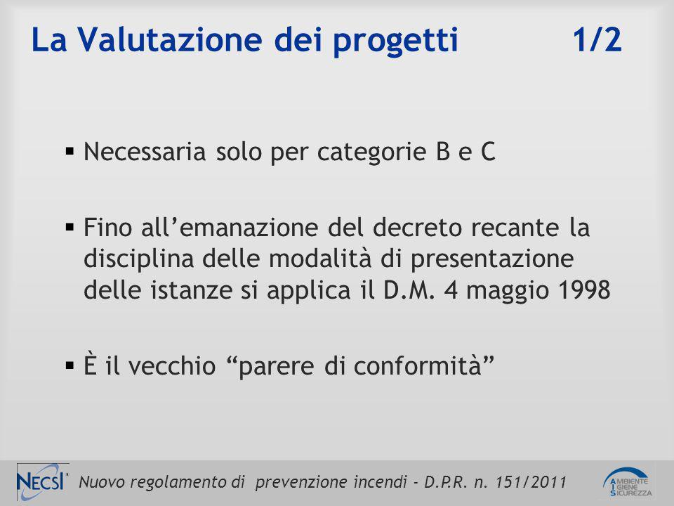 Nuovo regolamento di prevenzione incendi - D.P.R. n. 151/2011 La Valutazione dei progetti 1/2  Necessaria solo per categorie B e C  Fino all'emanazi