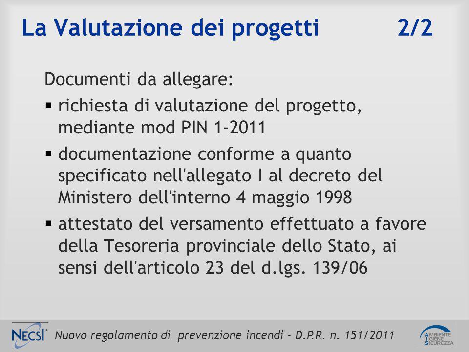 Nuovo regolamento di prevenzione incendi - D.P.R. n. 151/2011 La Valutazione dei progetti 2/2 Documenti da allegare:  richiesta di valutazione del pr