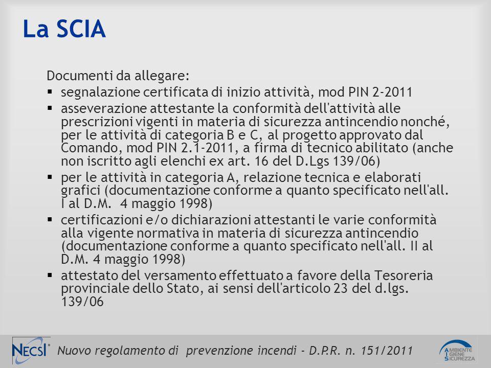 Nuovo regolamento di prevenzione incendi - D.P.R. n. 151/2011 La SCIA Documenti da allegare:  segnalazione certificata di inizio attività, mod PIN 2-