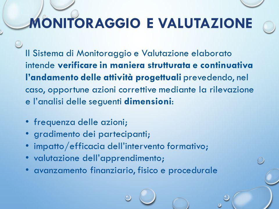 MONITORAGGIO E VALUTAZIONE Il Sistema di Monitoraggio e Valutazione elaborato intende verificare in maniera strutturata e continuativa l'andamento del
