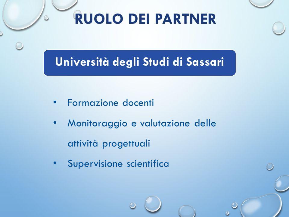 RUOLO DEI PARTNER Formazione docenti Monitoraggio e valutazione delle attività progettuali Supervisione scientifica Università degli Studi di Sassari