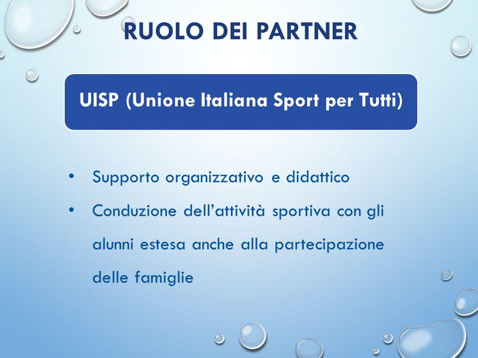 RUOLO DEI PARTNER Supporto organizzativo e didattico Conduzione dell'attività sportiva con gli alunni estesa anche alla partecipazione delle famiglie