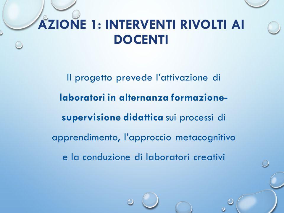 AZIONE 1: INTERVENTI RIVOLTI AI DOCENTI Il progetto prevede l'attivazione di laboratori in alternanza formazione- supervisione didattica sui processi