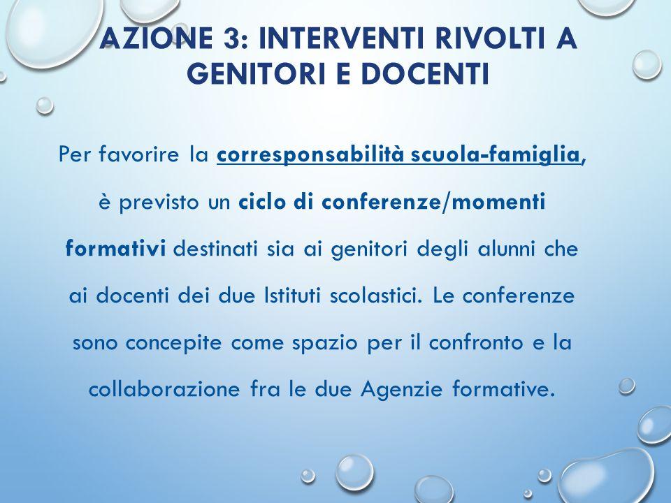 AZIONE 3: INTERVENTI RIVOLTI A GENITORI E DOCENTI Per favorire la corresponsabilità scuola-famiglia, è previsto un ciclo di conferenze/momenti formati