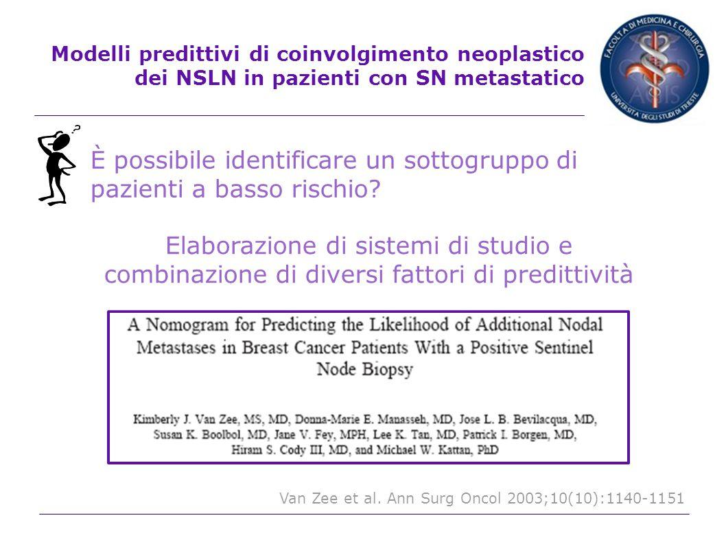 Modelli predittivi di coinvolgimento neoplastico dei NSLN in pazienti con SN metastatico Combinazione di diversi fattori predittivi Espressione del personale rischio di metastasi ai NSLN Guida all atteggiamento terapeutico