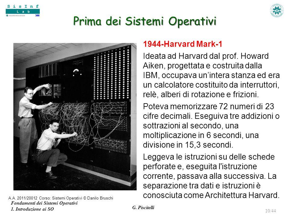 Fondamenti dei Sistemi Operativi 1. Introduzione ai SO G. Piscitelli 10/44 1944-Harvard Mark-1 Ideata ad Harvard dal prof. Howard Aiken, progettata e