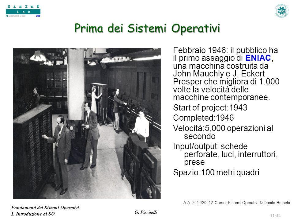 Fondamenti dei Sistemi Operativi 1. Introduzione ai SO G. Piscitelli 11/44 Febbraio 1946: il pubblico ha il primo assaggio di ENIAC, una macchina cost