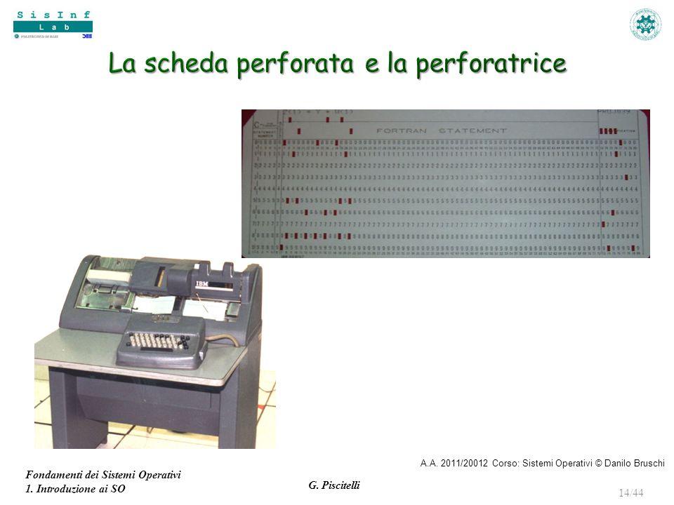 Fondamenti dei Sistemi Operativi 1. Introduzione ai SO G. Piscitelli 14/44 A.A. 2011/20012 Corso: Sistemi Operativi © Danilo Bruschi