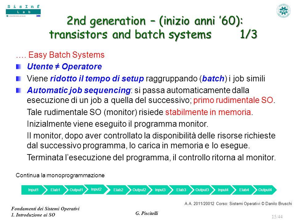 Fondamenti dei Sistemi Operativi 1. Introduzione ai SO G. Piscitelli 15/44 …. Easy Batch Systems Utente ≠ Operatore Viene ridotto il tempo di setup ra