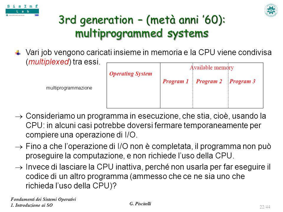 Fondamenti dei Sistemi Operativi 1. Introduzione ai SO G. Piscitelli 22/44 Vari job vengono caricati insieme in memoria e la CPU viene condivisa (mult