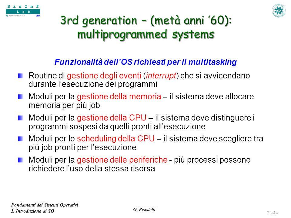 Fondamenti dei Sistemi Operativi 1. Introduzione ai SO G. Piscitelli 25/44 Funzionalità dell'OS richiesti per il multitasking Routine di gestione degl