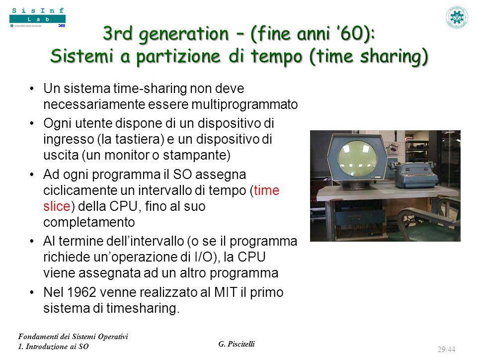 Fondamenti dei Sistemi Operativi 1. Introduzione ai SO G. Piscitelli 29/44 Un sistema time-sharing non deve necessariamente essere multiprogrammato Og