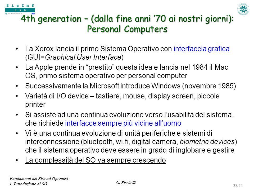 Fondamenti dei Sistemi Operativi 1. Introduzione ai SO G. Piscitelli 33/44 La Xerox lancia il primo Sistema Operativo con interfaccia grafica (GUI=Gra