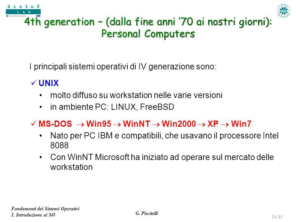 Fondamenti dei Sistemi Operativi 1. Introduzione ai SO G. Piscitelli 34/44 I principali sistemi operativi di IV generazione sono: UNIX molto diffuso s