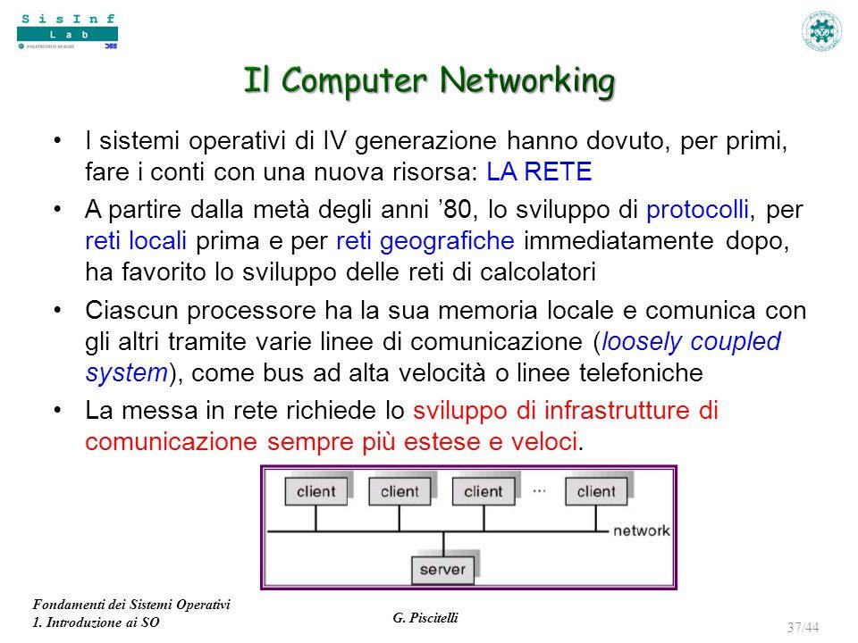 Fondamenti dei Sistemi Operativi 1. Introduzione ai SO G. Piscitelli 37/44 I sistemi operativi di IV generazione hanno dovuto, per primi, fare i conti