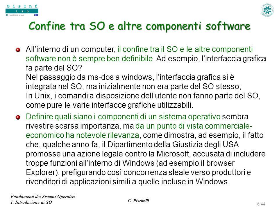 Fondamenti dei Sistemi Operativi 1. Introduzione ai SO G. Piscitelli 6/44 All'interno di un computer, il confine tra il SO e le altre componenti softw