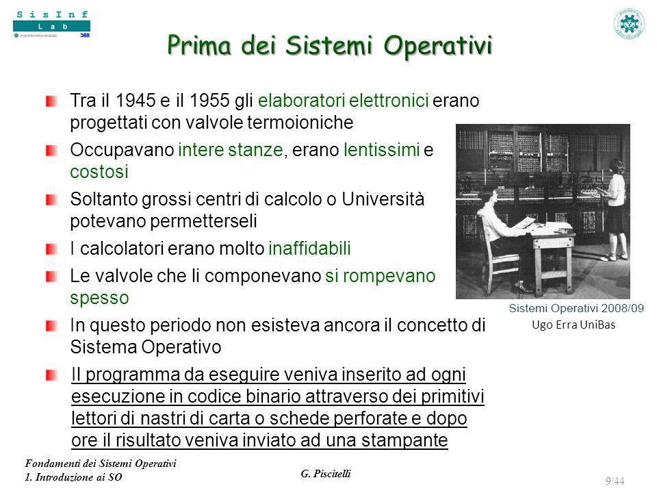 Fondamenti dei Sistemi Operativi 1. Introduzione ai SO G. Piscitelli 9/44 Tra il 1945 e il 1955 gli elaboratori elettronici erano progettati con valvo