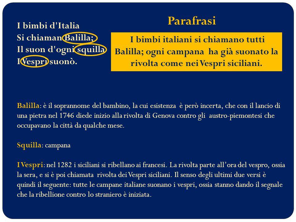 I bimbi d Italia Si chiaman Balilla; Il suon d ogni squilla I Vespri suonò.