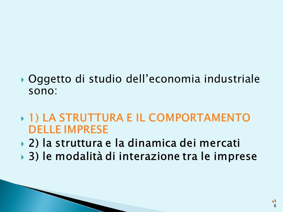  Oggetto di studio dell'economia industriale sono:  1) LA STRUTTURA E IL COMPORTAMENTO DELLE IMPRESE  2) la struttura e la dinamica dei mercati  3) le modalità di interazione tra le imprese 1818