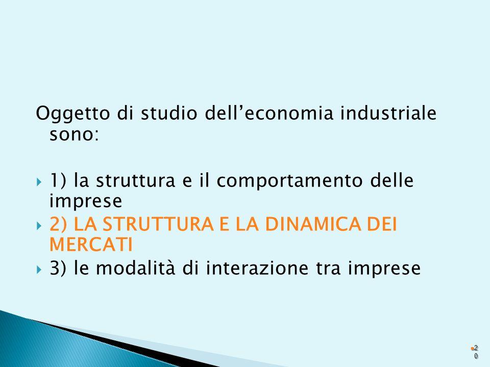 Oggetto di studio dell'economia industriale sono:  1) la struttura e il comportamento delle imprese  2) LA STRUTTURA E LA DINAMICA DEI MERCATI  3) le modalità di interazione tra imprese 2020