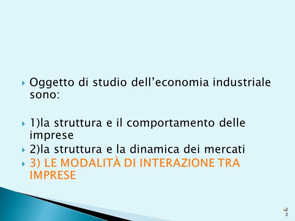  Oggetto di studio dell'economia industriale sono:  1)la struttura e il comportamento delle imprese  2)la struttura e la dinamica dei mercati  3) LE MODALITÀ DI INTERAZIONE TRA IMPRESE 2222
