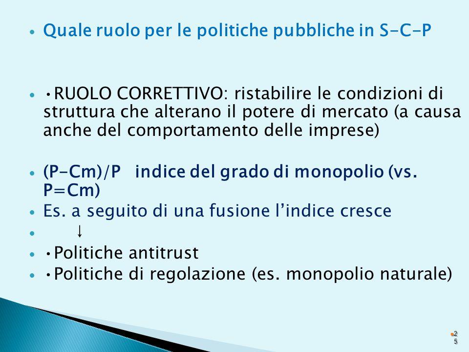 Quale ruolo per le politiche pubbliche in S-C-P RUOLO CORRETTIVO: ristabilire le condizioni di struttura che alterano il potere di mercato (a causa anche del comportamento delle imprese) (P-Cm)/P indice del grado di monopolio (vs.