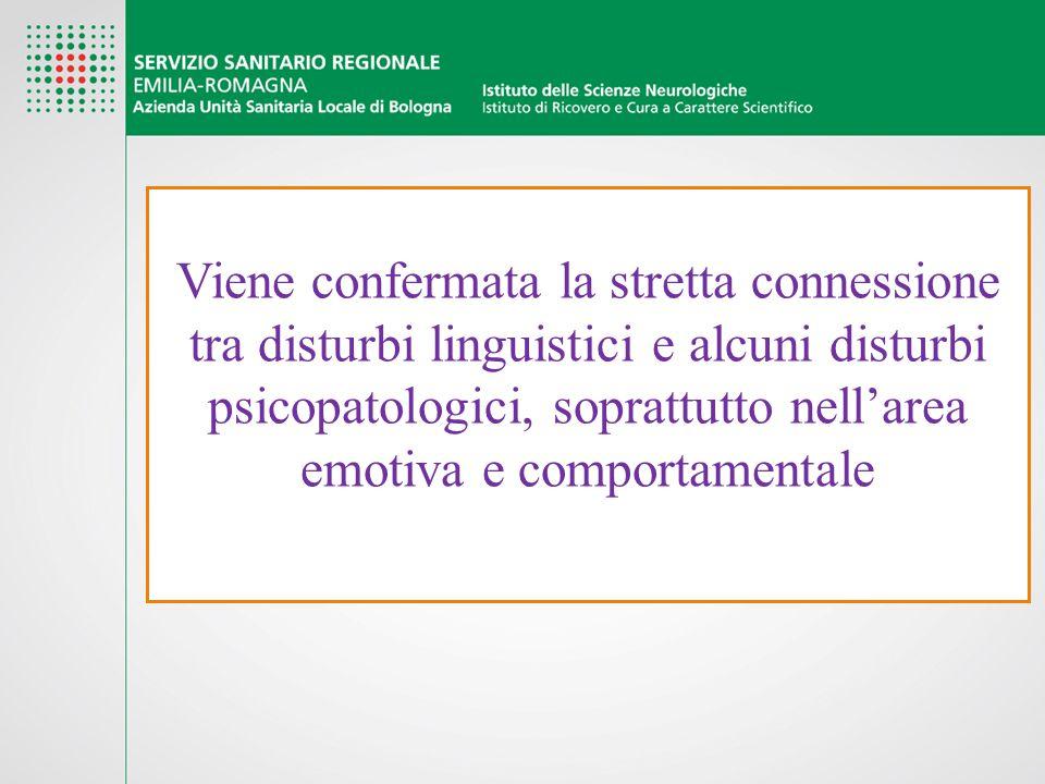 Viene confermata la stretta connessione tra disturbi linguistici e alcuni disturbi psicopatologici, soprattutto nell'area emotiva e comportamentale