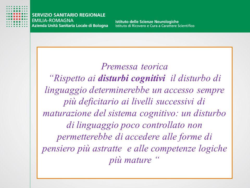 """Premessa teorica """"Rispetto ai disturbi cognitivi il disturbo di linguaggio determinerebbe un accesso sempre più deficitario ai livelli successivi di m"""