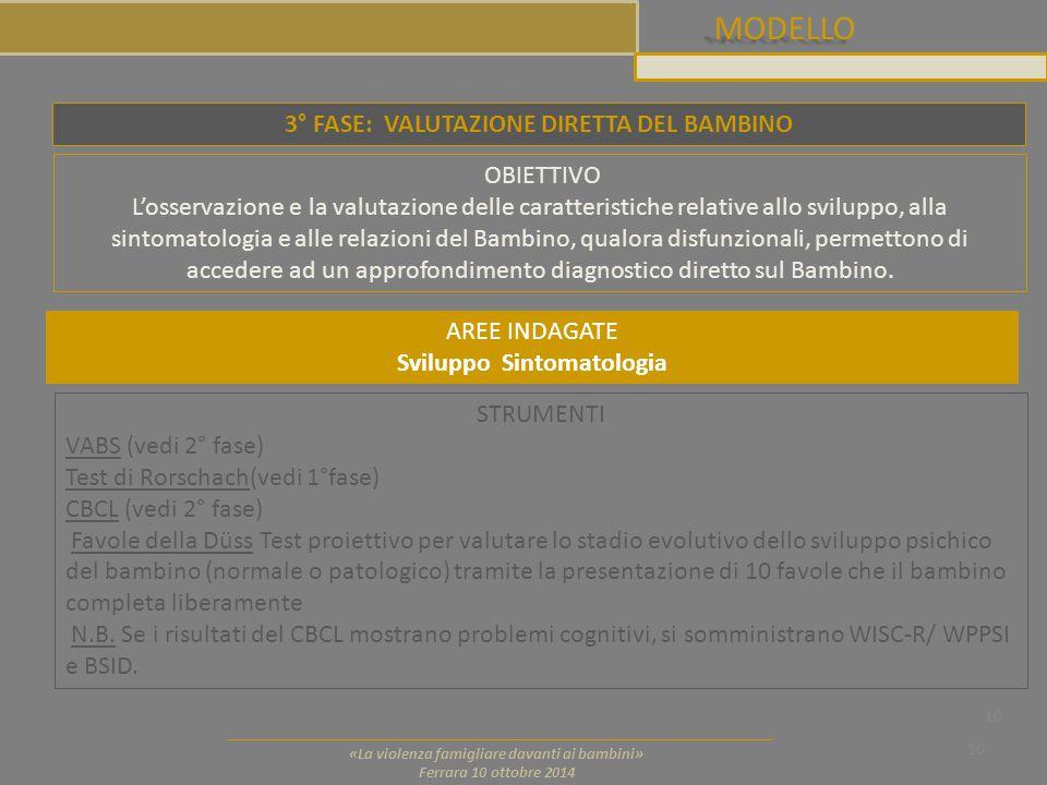 MODELLO 10 «La violenza famigliare davanti ai bambini» Ferrara 10 ottobre 2014 3° FASE: VALUTAZIONE DIRETTA DEL BAMBINO OBIETTIVO L'osservazione e la