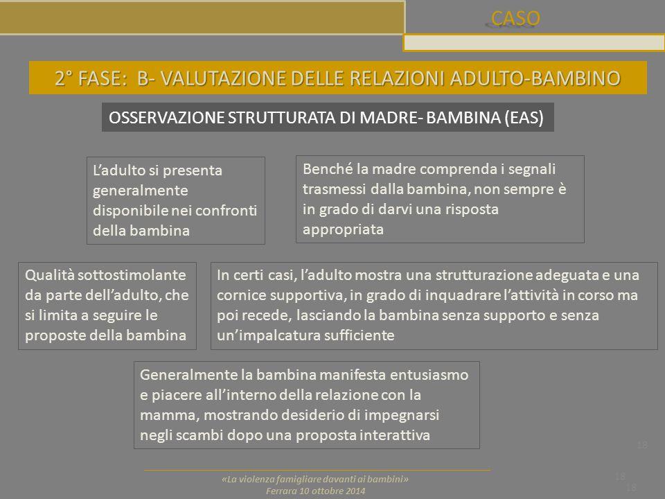 CASO 18 «La violenza famigliare davanti ai bambini» Ferrara 10 ottobre 2014 18 OSSERVAZIONE STRUTTURATA DI MADRE- BAMBINA (EAS) Qualità sottostimolant