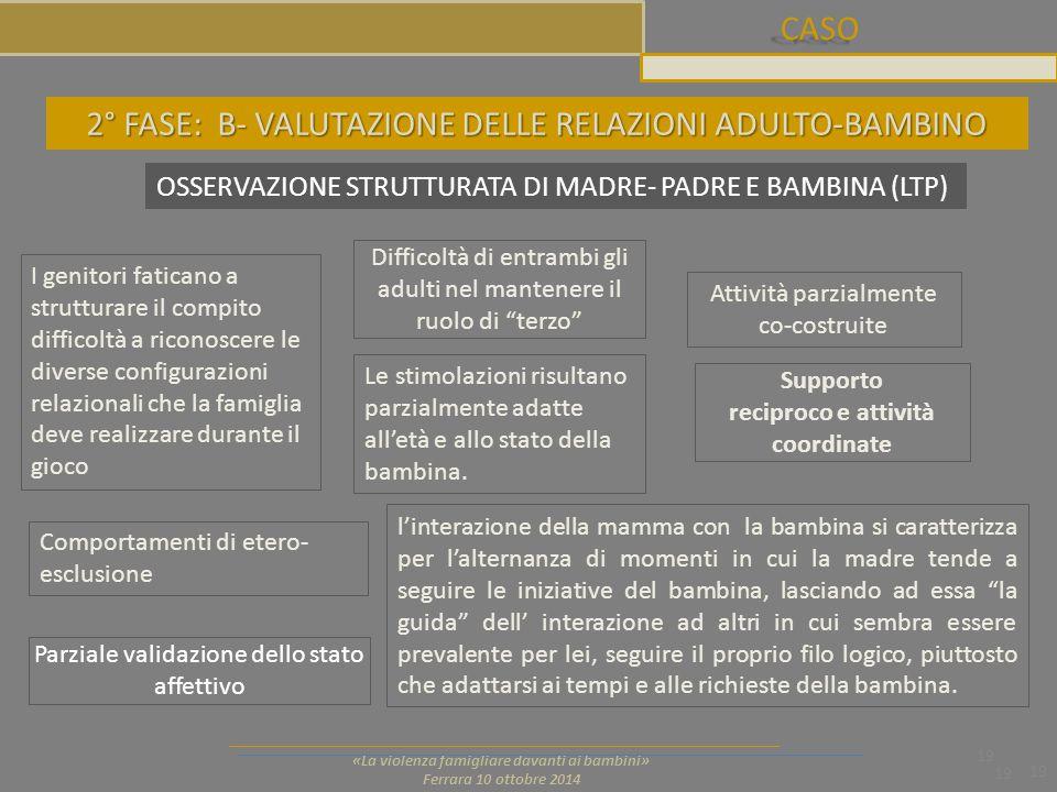 CASO 19 «La violenza famigliare davanti ai bambini» Ferrara 10 ottobre 2014 19 2° FASE: B- VALUTAZIONE DELLE RELAZIONI ADULTO-BAMBINO OSSERVAZIONE STR