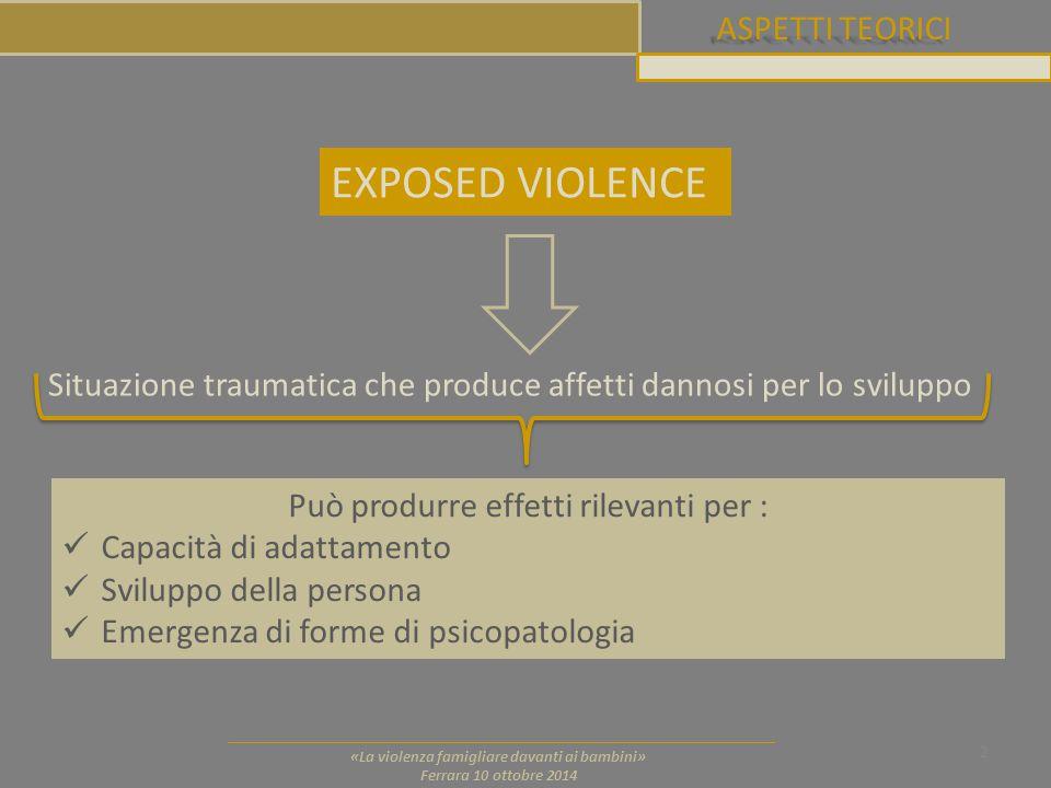 ASPETTI TEORICI 2 «La violenza famigliare davanti ai bambini» Ferrara 10 ottobre 2014 EXPOSED VIOLENCE Situazione traumatica che produce affetti danno