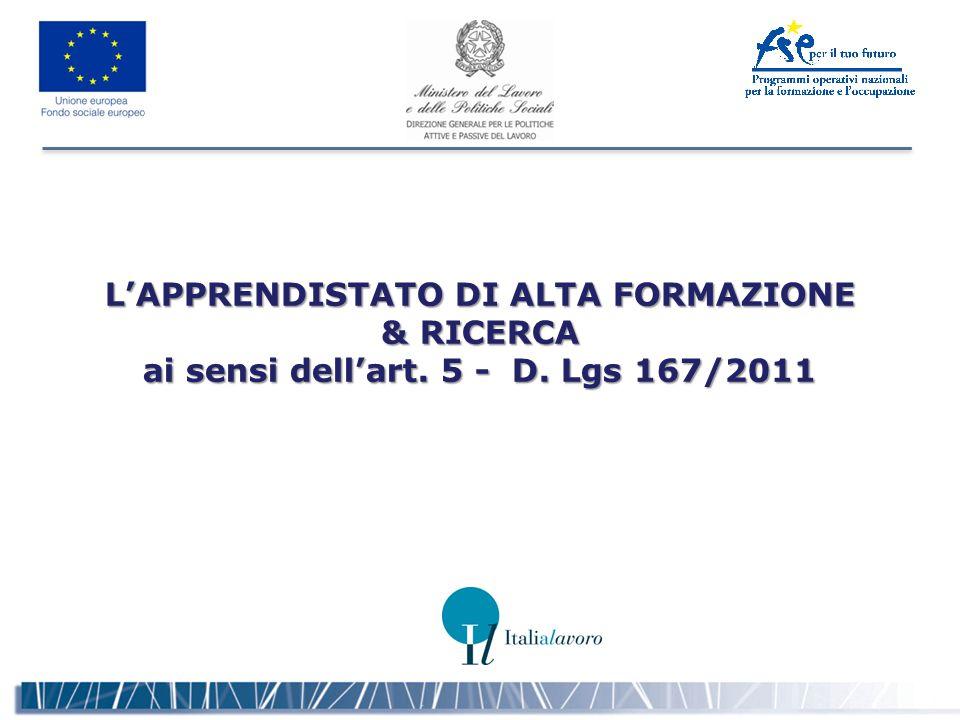 L'APPRENDISTATO DI ALTA FORMAZIONE & RICERCA ai sensi dell'art. 5 - D. Lgs 167/2011