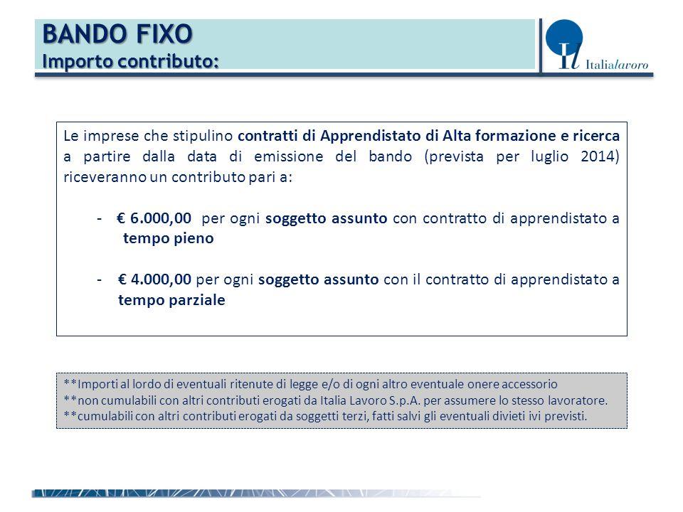 BANDO FIXO Importo contributo: Le imprese che stipulino contratti di Apprendistato di Alta formazione e ricerca a partire dalla data di emissione del