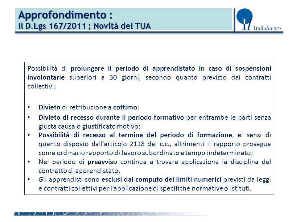 Approfondimento : Il D.Lgs 167/2011 ; Novità del TUA Possibilità di prolungare il periodo di apprendistato in caso di sospensioni involontarie superiori a 30 giorni, secondo quanto previsto dai contratti collettivi; Divieto di retribuzione a cottimo; Divieto di recesso durante il periodo formativo per entrambe le parti senza giusta causa o giustificato motivo; Possibilità di recesso al termine del periodo di formazione, ai sensi di quanto disposto dall articolo 2118 del c.c., altrimenti il rapporto prosegue come ordinario rapporto di lavoro subordinato a tempo indeterminato; Nel periodo di preavviso continua a trovare applicazione la disciplina del contratto di apprendistato.