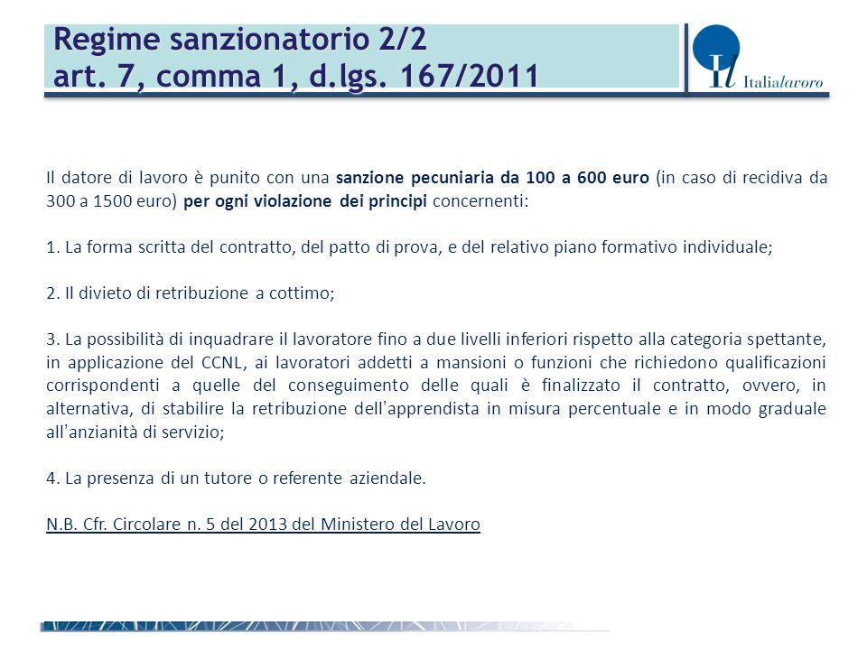 Regime sanzionatorio 2/2 art. 7, comma 1, d.lgs. 167/2011 Il datore di lavoro è punito con una sanzione pecuniaria da 100 a 600 euro (in caso di recid