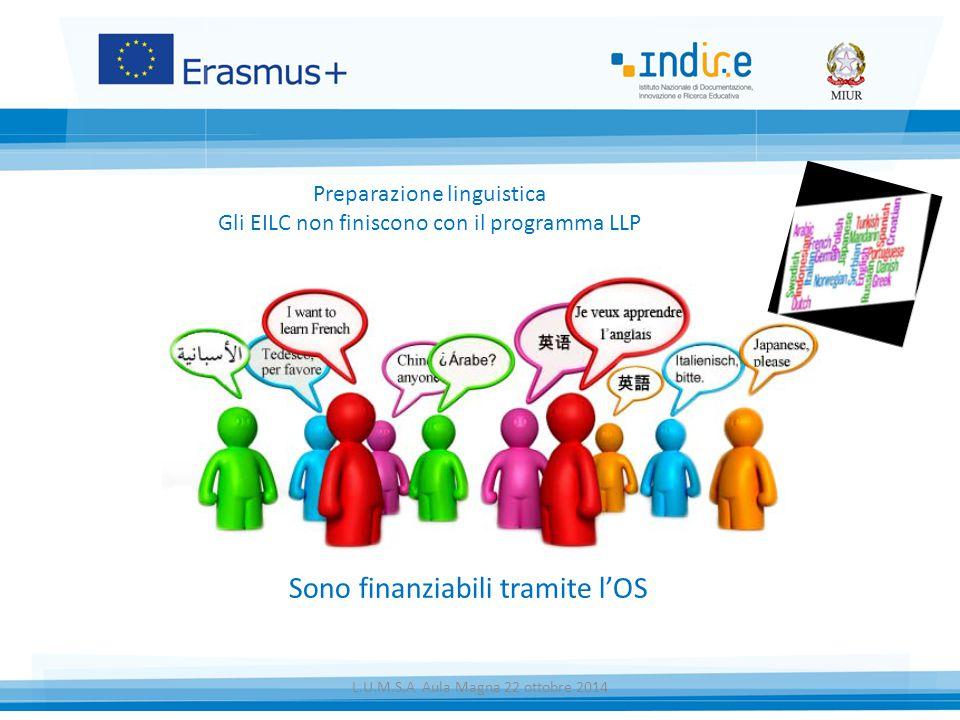 Sono finanziabili tramite l'OS Preparazione linguistica Gli EILC non finiscono con il programma LLP L.U.M.S.A Aula Magna 22 ottobre 2014