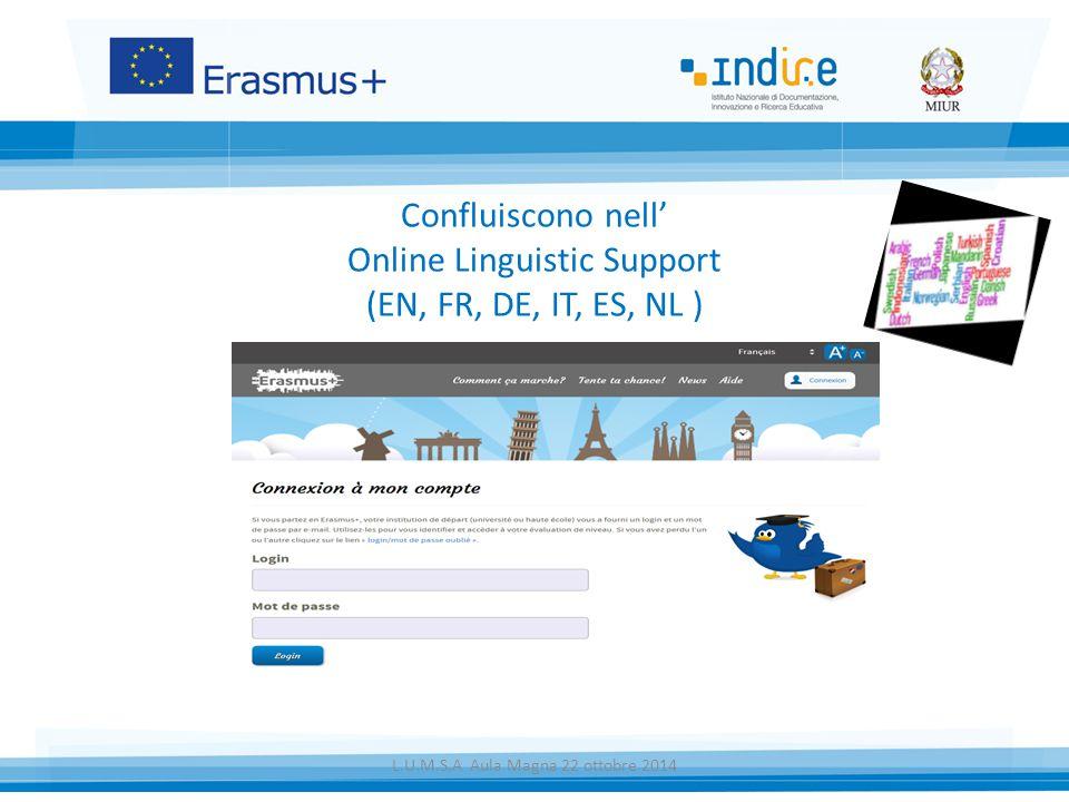 Confluiscono nell' Online Linguistic Support (EN, FR, DE, IT, ES, NL ) L.U.M.S.A Aula Magna 22 ottobre 2014